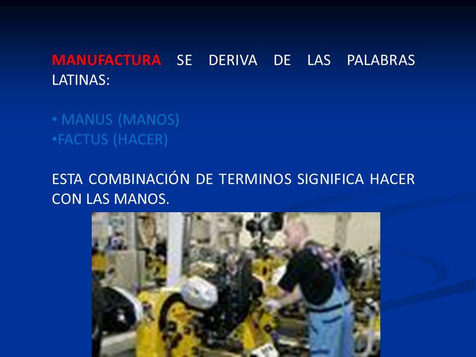 MANUFACTURA SE DERIVA DE LAS PALABRAS LATINAS: