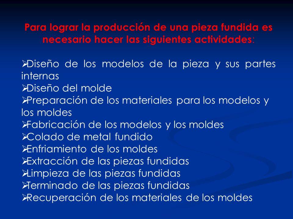 Para lograr la producción de una pieza fundida es necesario hacer las siguientes actividades:
