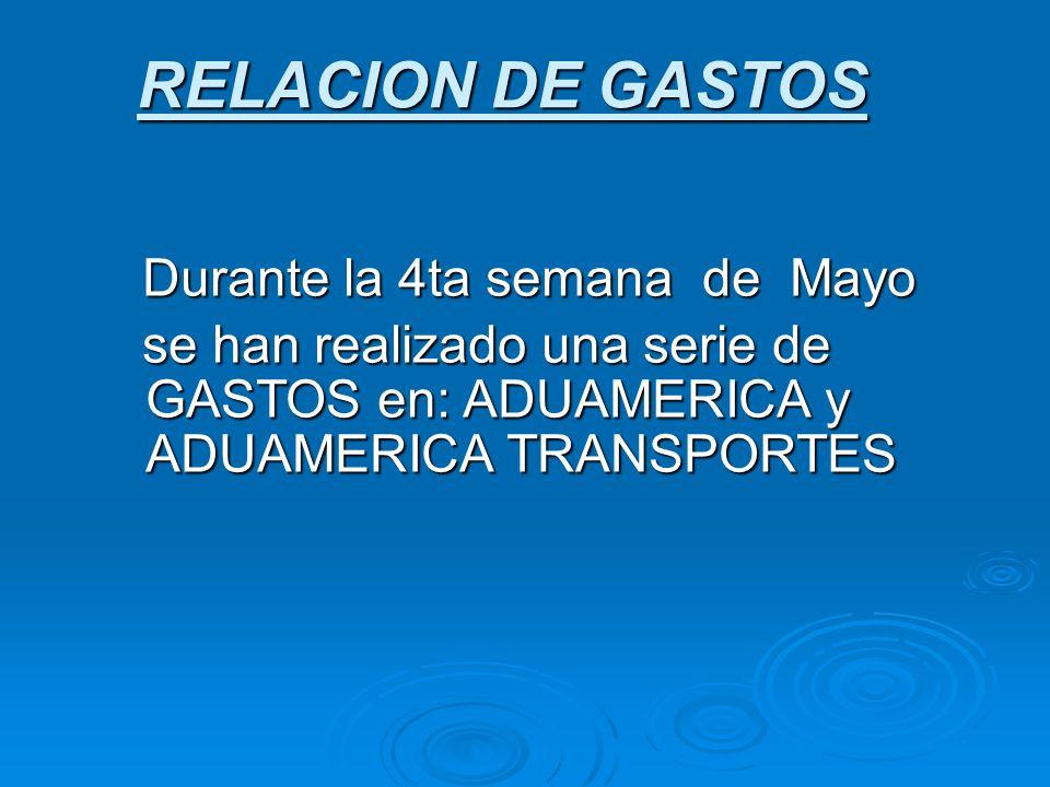 RELACION DE GASTOS Durante la 4ta semana de Mayo