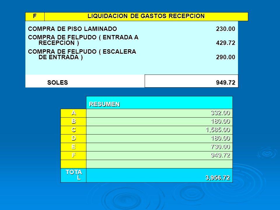 LIQUIDACION DE GASTOS RECEPCION