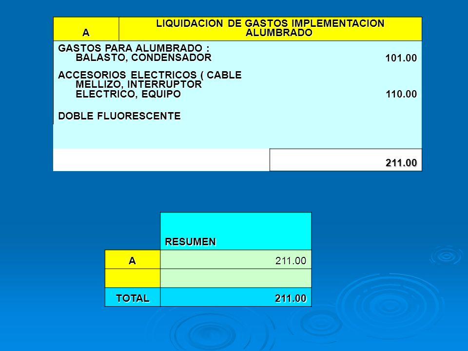 LIQUIDACION DE GASTOS IMPLEMENTACION ALUMBRADO