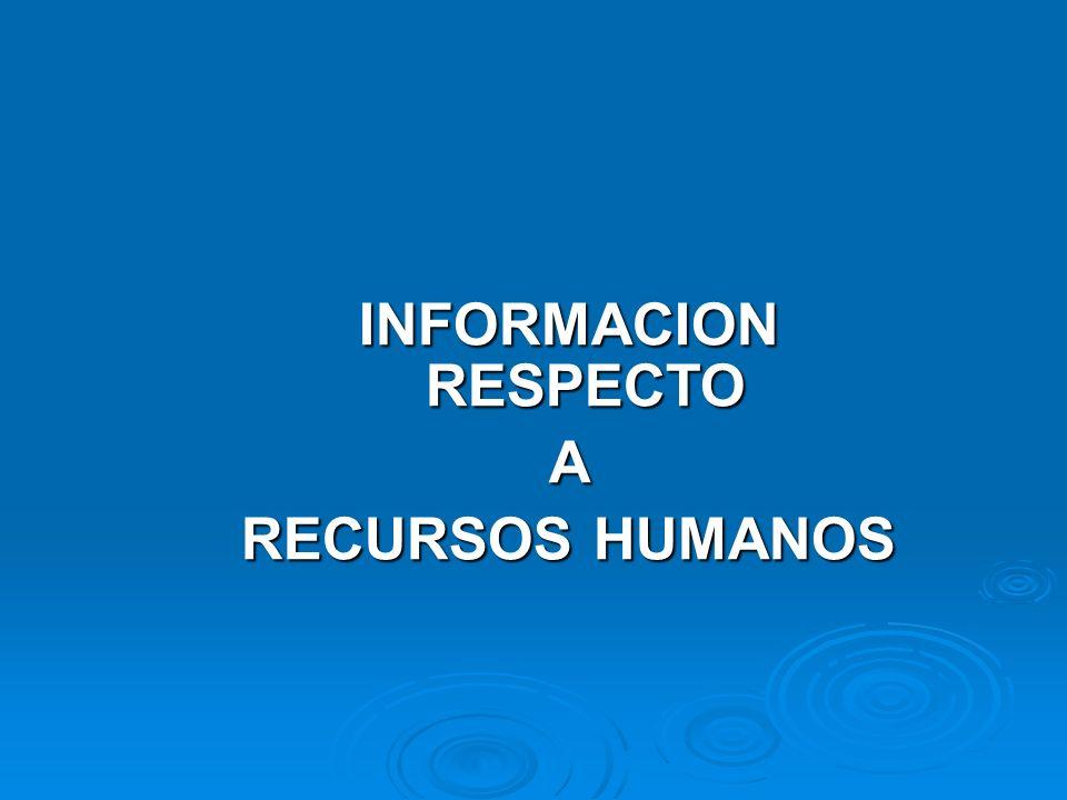 INFORMACION RESPECTO A RECURSOS HUMANOS