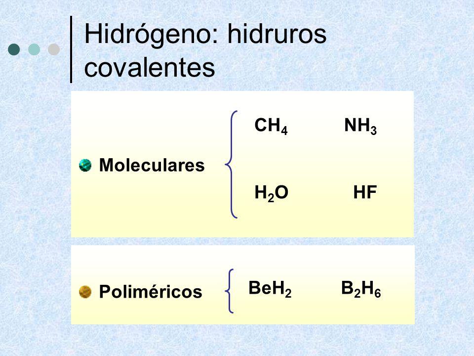 Hidrógeno: hidruros covalentes