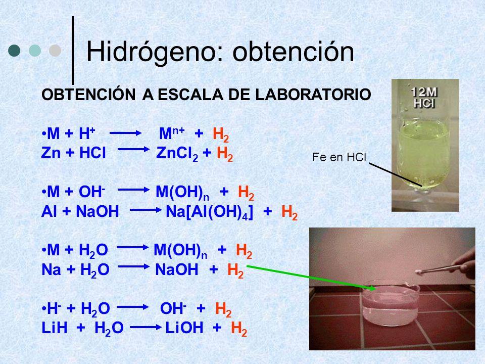 Hidrógeno: obtención OBTENCIÓN A ESCALA DE LABORATORIO M + H+ Mn+ + H2