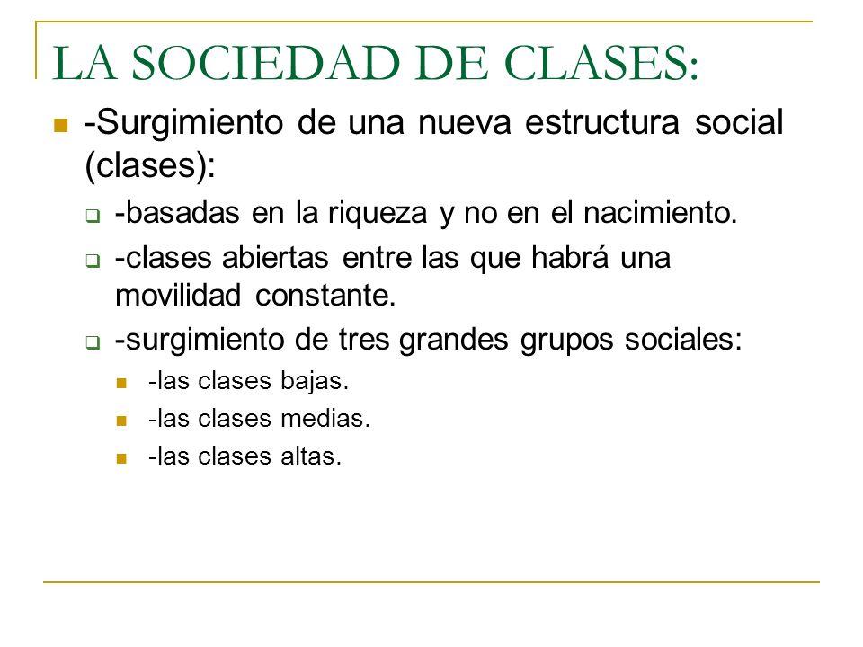 LA SOCIEDAD DE CLASES: -Surgimiento de una nueva estructura social (clases): -basadas en la riqueza y no en el nacimiento.