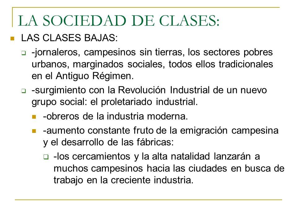 LA SOCIEDAD DE CLASES: LAS CLASES BAJAS: