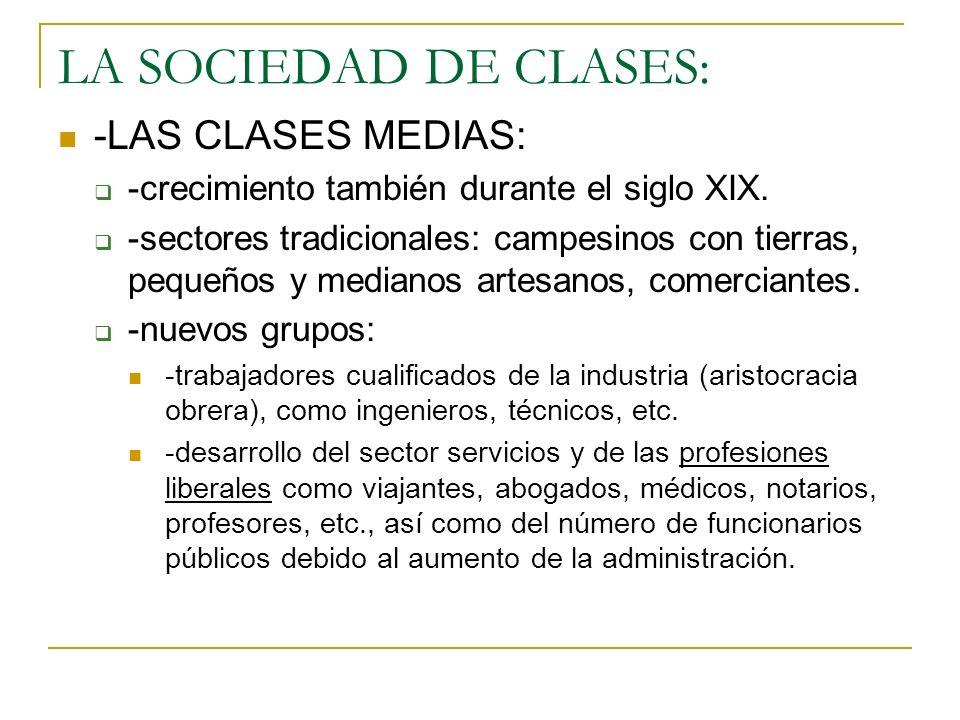 LA SOCIEDAD DE CLASES: -LAS CLASES MEDIAS: