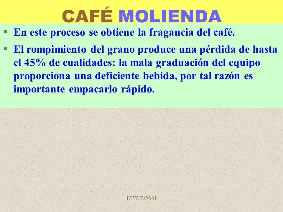 CAFÉ MOLIENDA En este proceso se obtiene la fragancia del café.