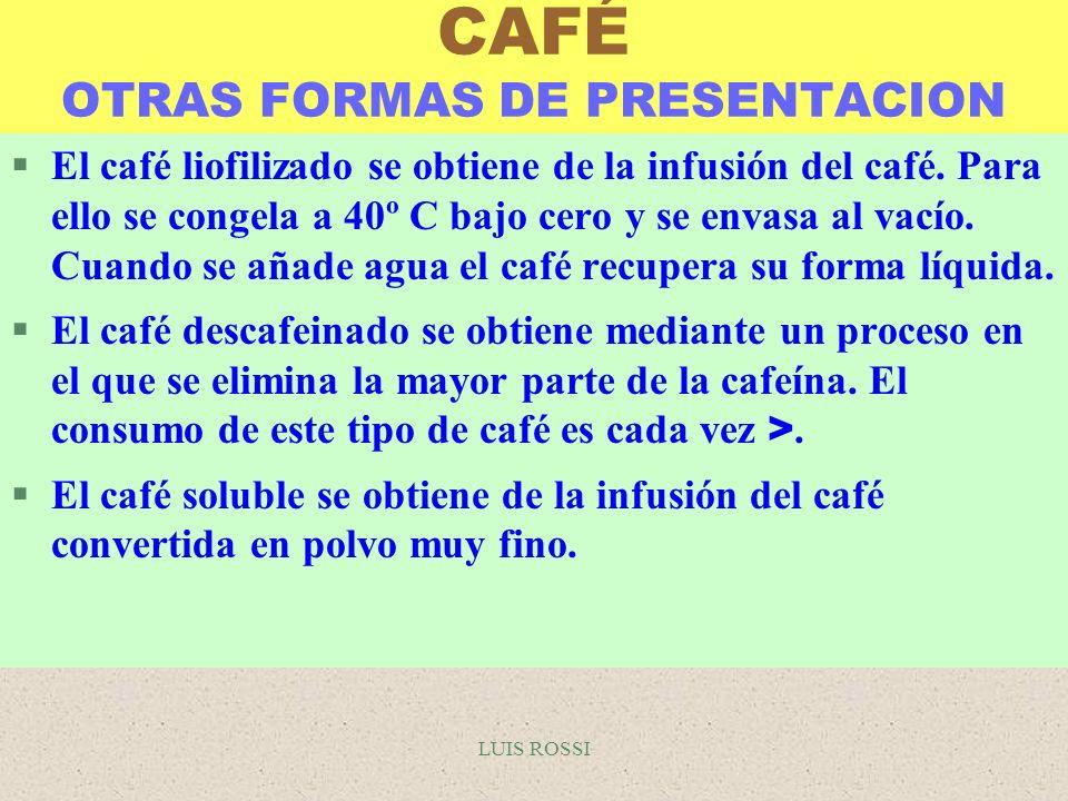 CAFÉ OTRAS FORMAS DE PRESENTACION