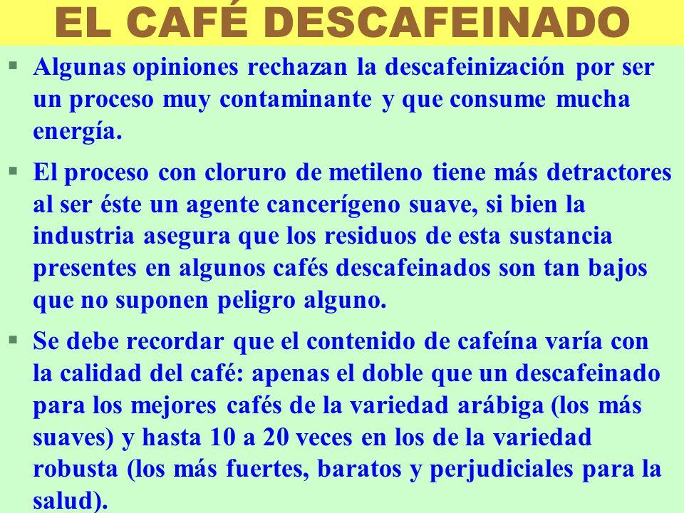 EL CAFÉ DESCAFEINADO Algunas opiniones rechazan la descafeinización por ser un proceso muy contaminante y que consume mucha energía.