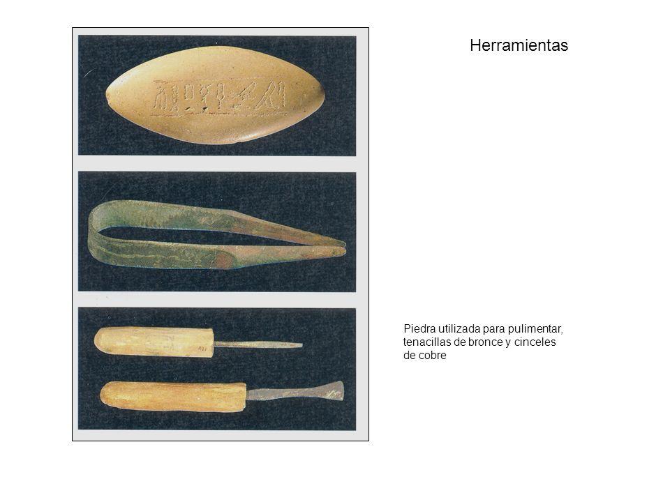 Herramientas Piedra utilizada para pulimentar, tenacillas de bronce y cinceles de cobre