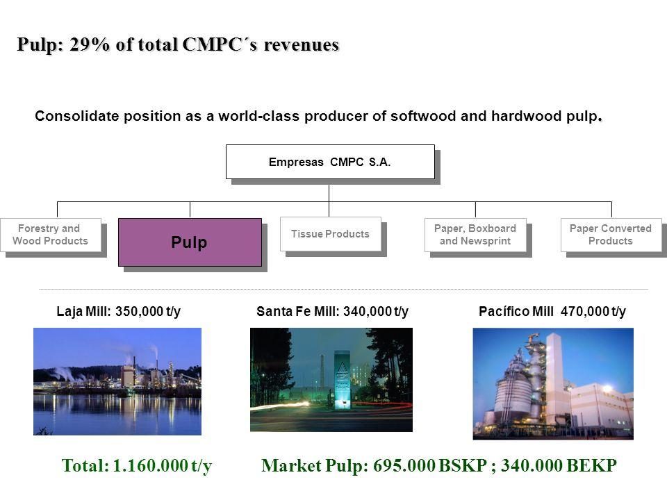 Total: 1.160.000 t/y Market Pulp: 695.000 BSKP ; 340.000 BEKP