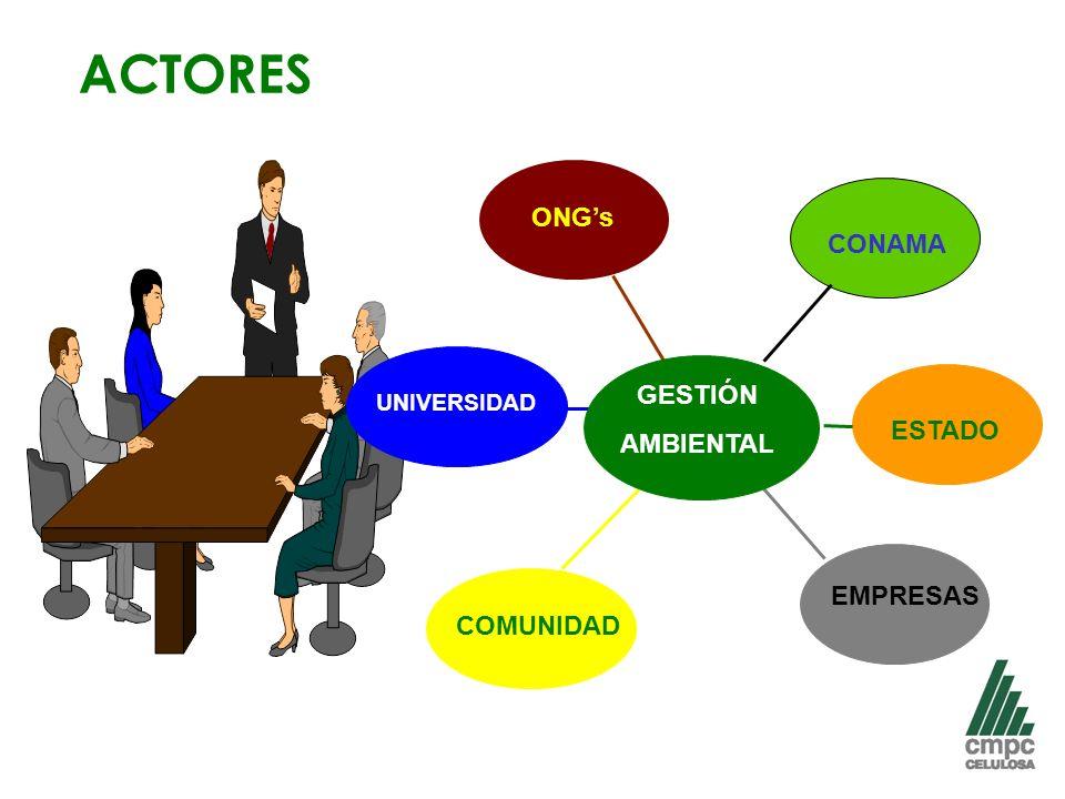 ACTORES ONG's CONAMA GESTIÓN AMBIENTAL ESTADO EMPRESAS COMUNIDAD