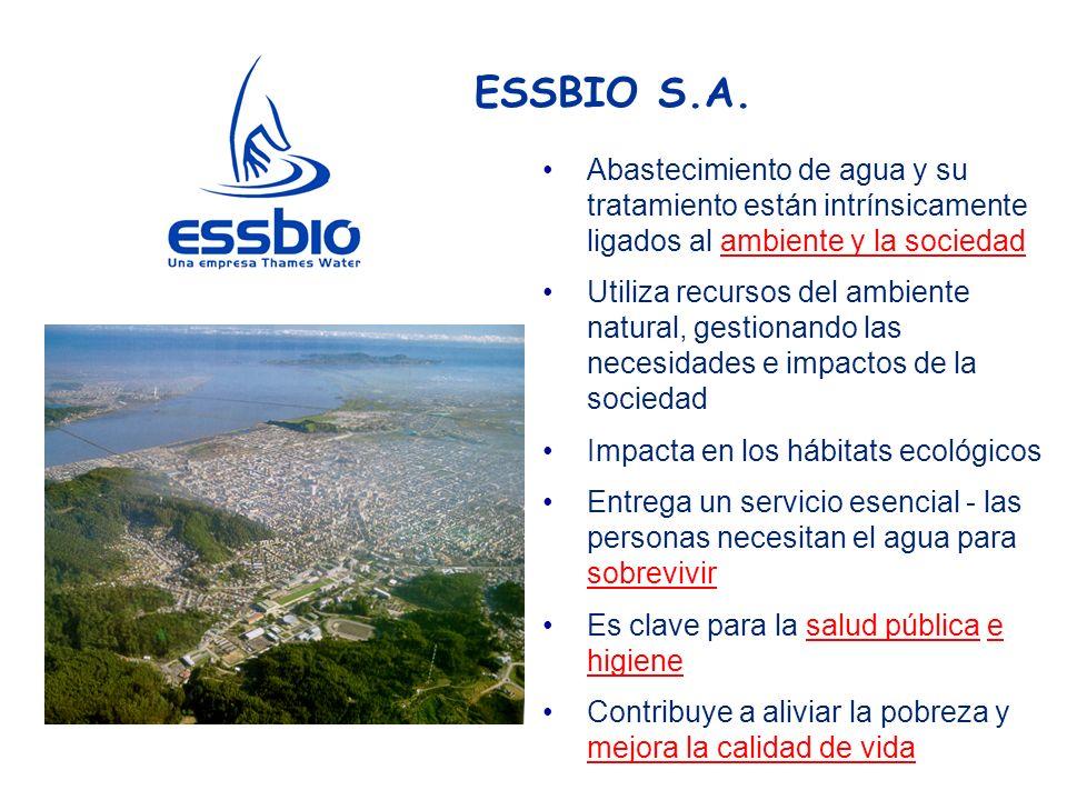 ESSBIO S.A. Abastecimiento de agua y su tratamiento están intrínsicamente ligados al ambiente y la sociedad.