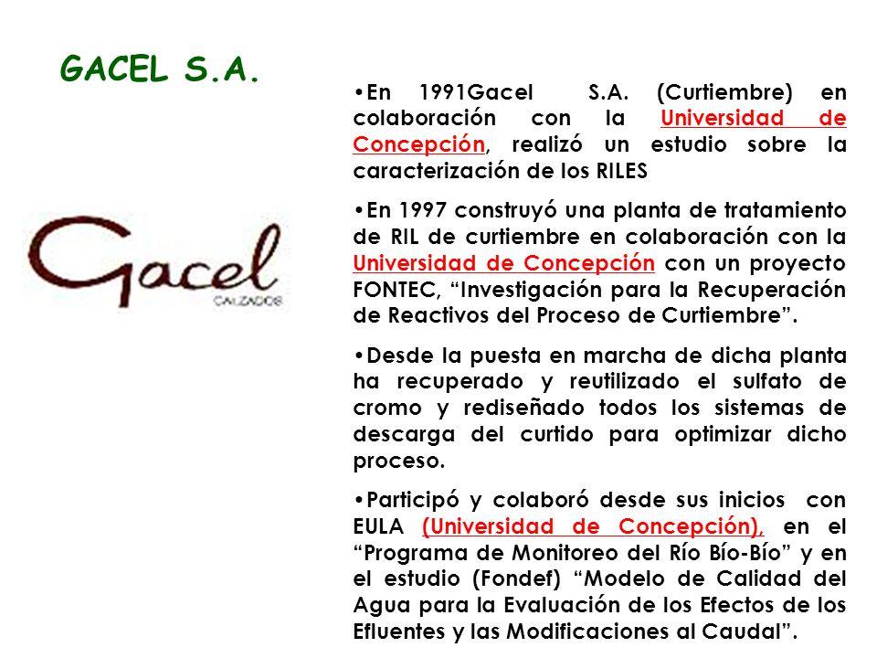 GACEL S.A. En 1991Gacel S.A. (Curtiembre) en colaboración con la Universidad de Concepción, realizó un estudio sobre la caracterización de los RILES.