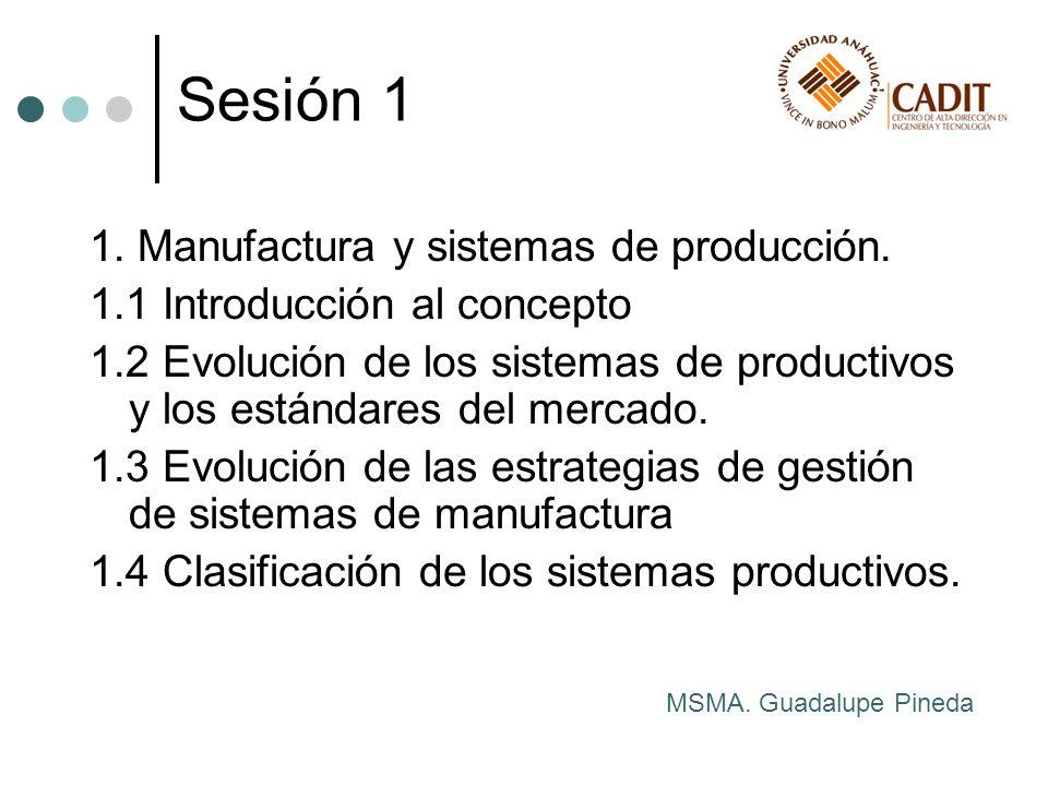Sesión 1 1. Manufactura y sistemas de producción.
