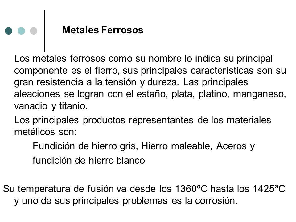 Metales Ferrosos Los metales ferrosos como su nombre lo indica su principal componente es el fierro, sus principales características son su gran resistencia a la tensión y dureza.