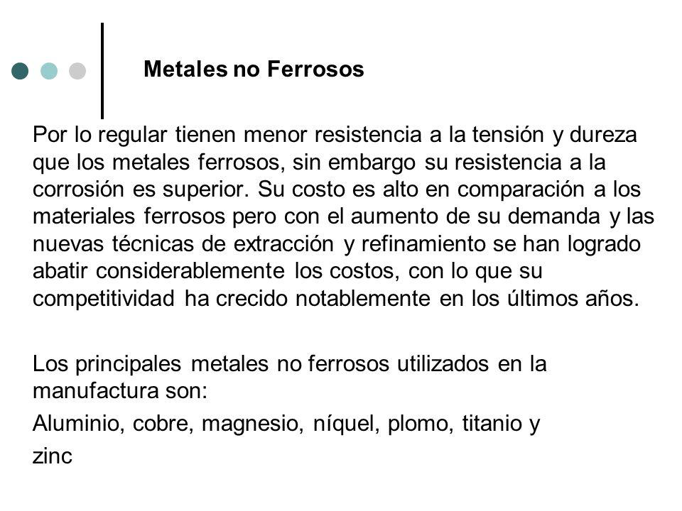 Metales no Ferrosos Por lo regular tienen menor resistencia a la tensión y dureza que los metales ferrosos, sin embargo su resistencia a la corrosión es superior.