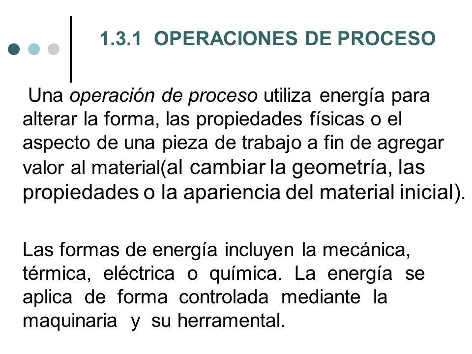 1.3.1 OPERACIONES DE PROCESO Una operación de proceso utiliza energía para alterar la forma, las propiedades físicas o el aspecto de una pieza de trabajo a fin de agregar valor al material(al cambiar la geometría, las propiedades o la apariencia del material inicial).
