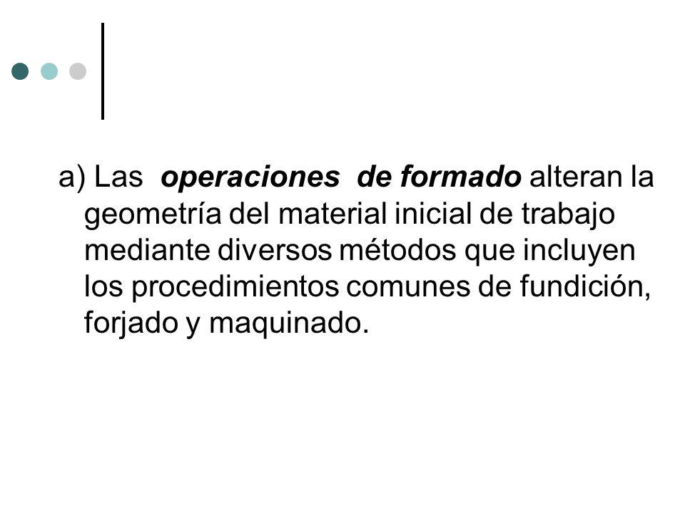 a) Las operaciones de formado alteran la geometría del material inicial de trabajo mediante diversos métodos que incluyen los procedimientos comunes de fundición, forjado y maquinado.