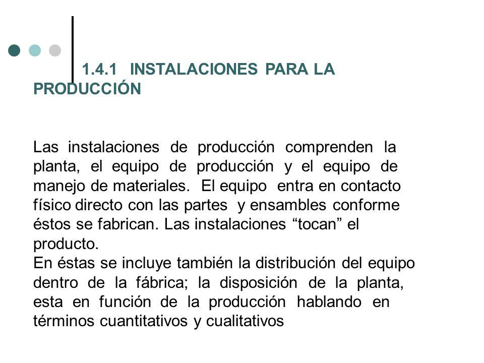 1.4.1 INSTALACIONES PARA LA PRODUCCIÓN