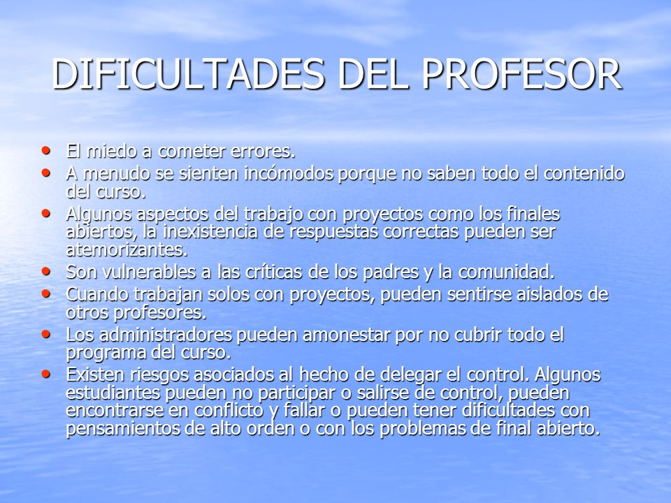DIFICULTADES DEL PROFESOR