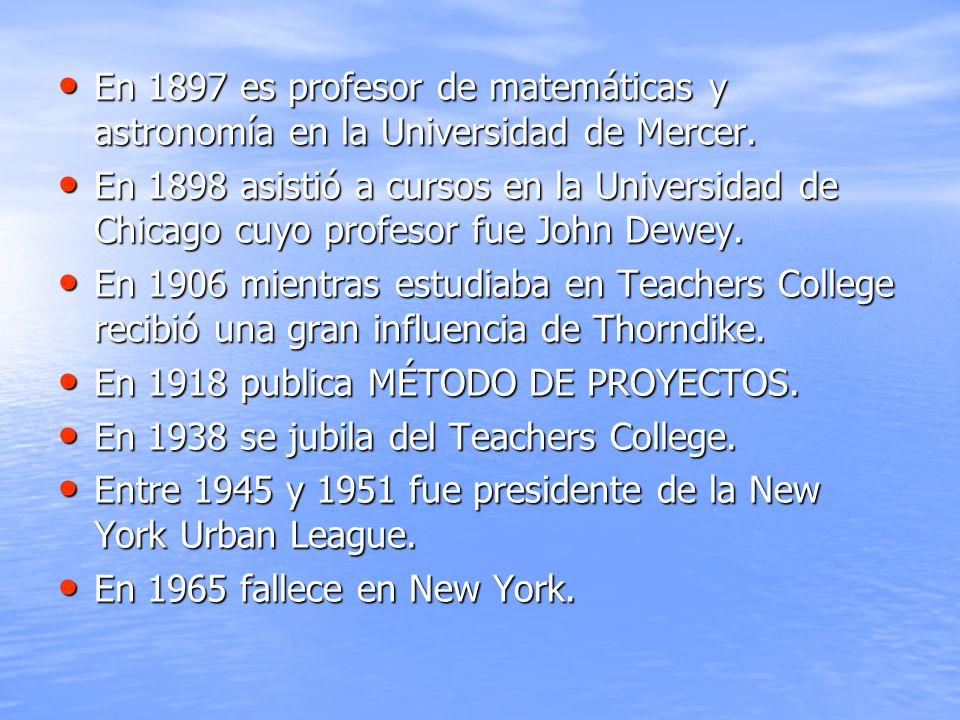 En 1897 es profesor de matemáticas y astronomía en la Universidad de Mercer.
