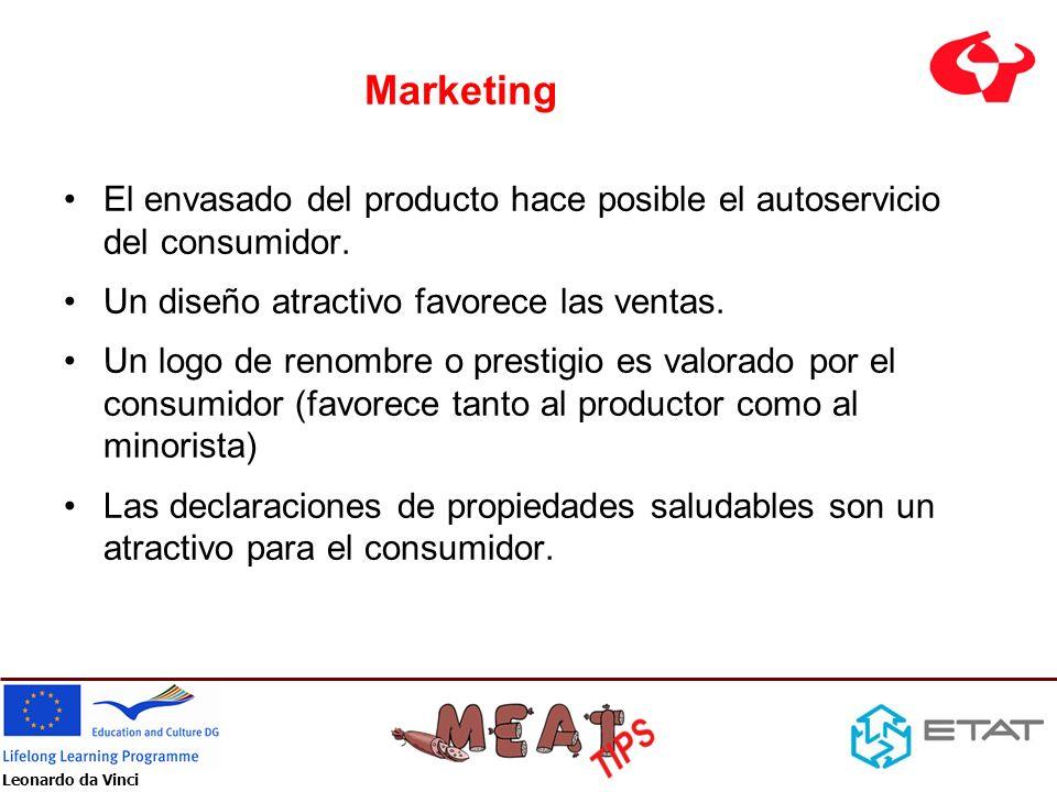 Marketing El envasado del producto hace posible el autoservicio del consumidor. Un diseño atractivo favorece las ventas.
