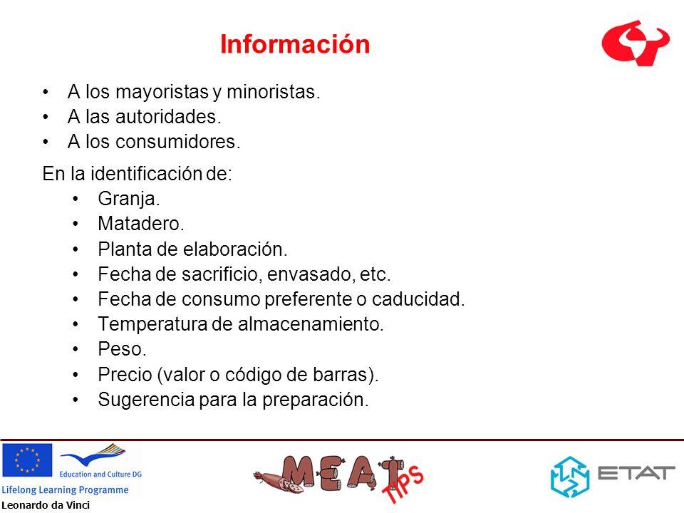 Información A los mayoristas y minoristas. A las autoridades.