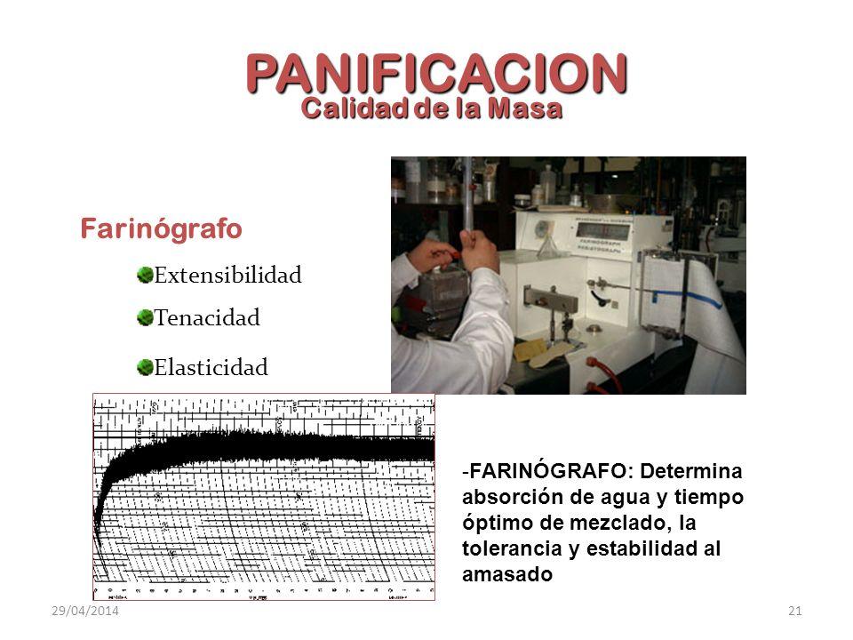 PANIFICACION Calidad de la Masa Farinógrafo Extensibilidad Tenacidad