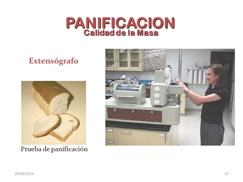 PANIFICACION Calidad de la Masa Extensógrafo Prueba de panificación