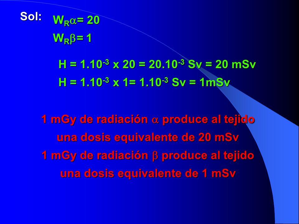 1 mGy de radiación  produce al tejido una dosis equivalente de 20 mSv
