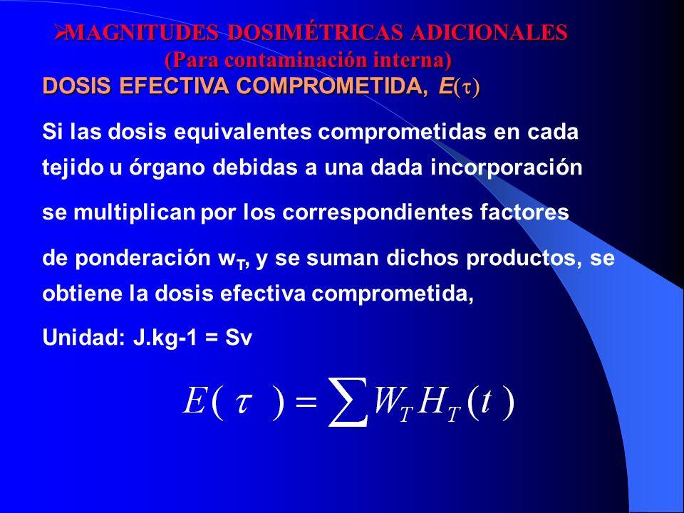 MAGNITUDES DOSIMÉTRICAS ADICIONALES (Para contaminación interna)