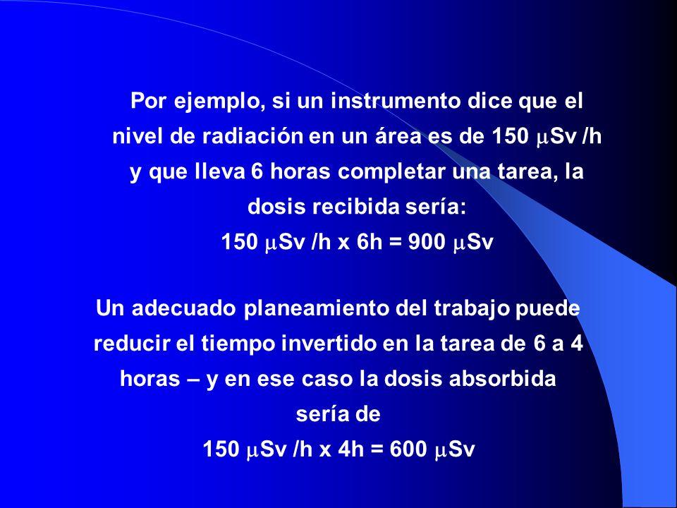 Por ejemplo, si un instrumento dice que el nivel de radiación en un área es de 150 Sv /h y que lleva 6 horas completar una tarea, la dosis recibida sería:
