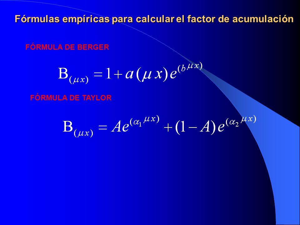 Fórmulas empíricas para calcular el factor de acumulación