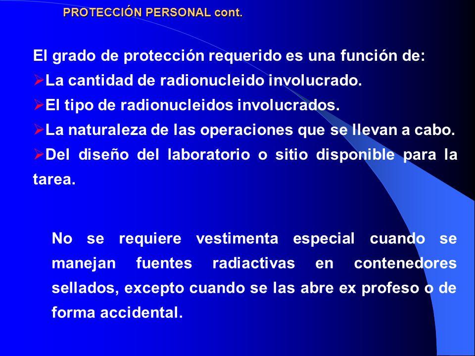 El grado de protección requerido es una función de: