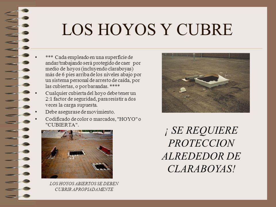 LOS HOYOS Y CUBRE ¡ SE REQUIERE PROTECCION ALREDEDOR DE CLARABOYAS!