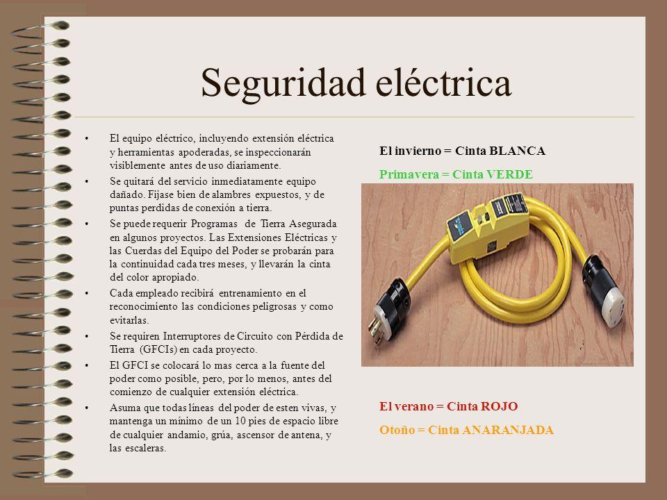 Seguridad eléctrica El invierno = Cinta BLANCA Primavera = Cinta VERDE