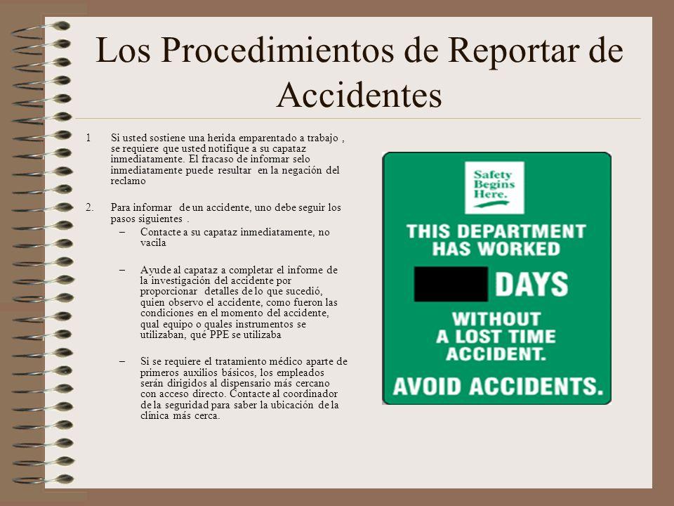 Los Procedimientos de Reportar de Accidentes