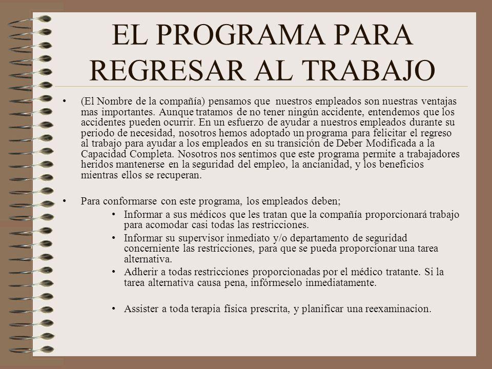 EL PROGRAMA PARA REGRESAR AL TRABAJO