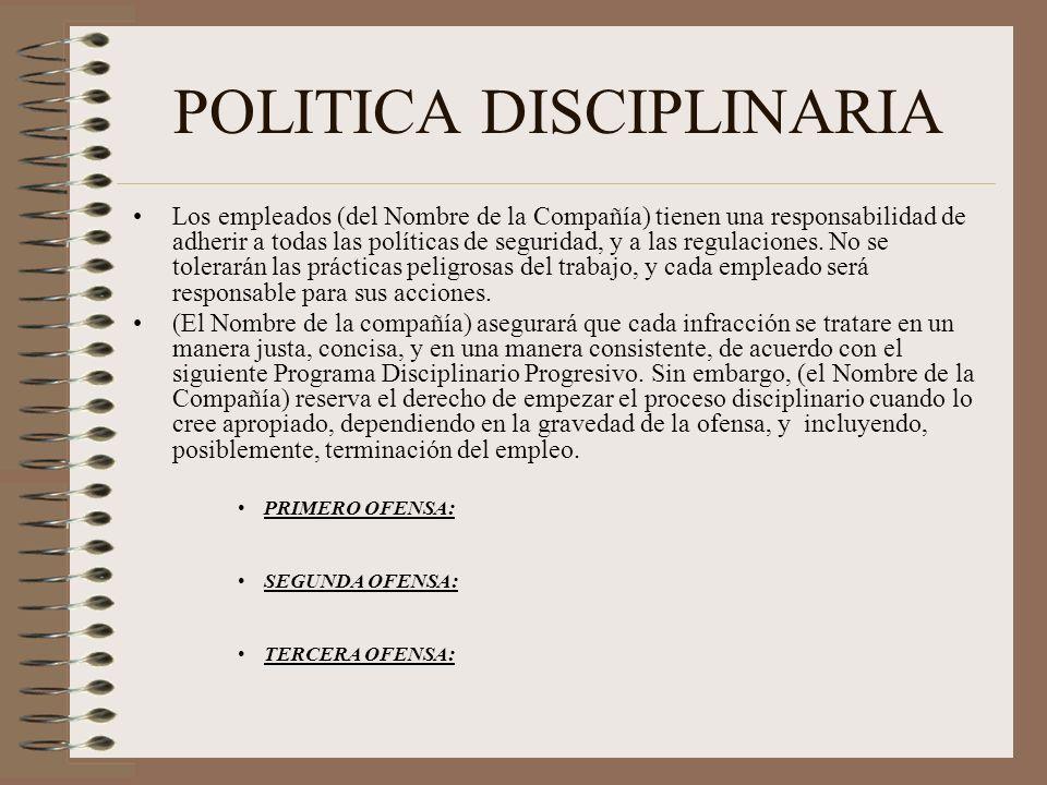 POLITICA DISCIPLINARIA