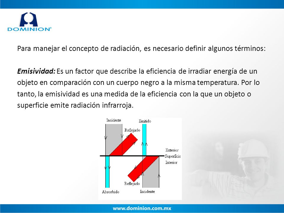 Para manejar el concepto de radiación, es necesario definir algunos términos: Emisividad: Es un factor que describe la eficiencia de irradiar energía de un objeto en comparación con un cuerpo negro a la misma temperatura.