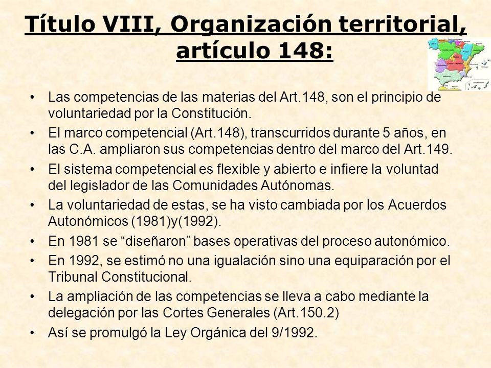 Título VIII, Organización territorial, artículo 148: