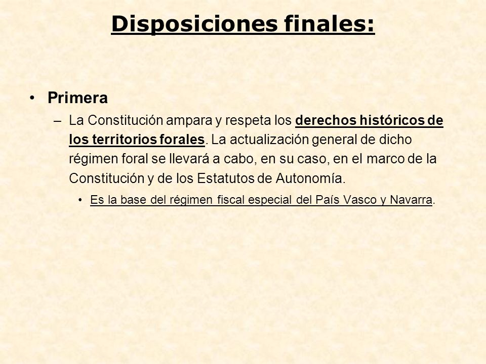 Disposiciones finales: