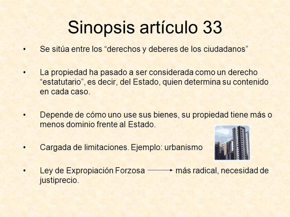 Sinopsis artículo 33 Se sitúa entre los derechos y deberes de los ciudadanos