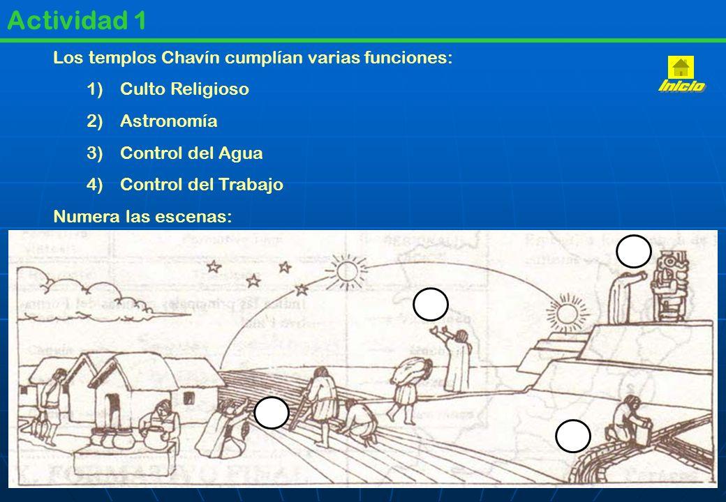 Inicio Actividad 1 Los templos Chavín cumplían varias funciones: