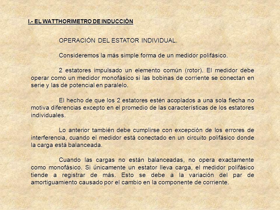OPERACIÓN DEL ESTATOR INDIVIDUAL.
