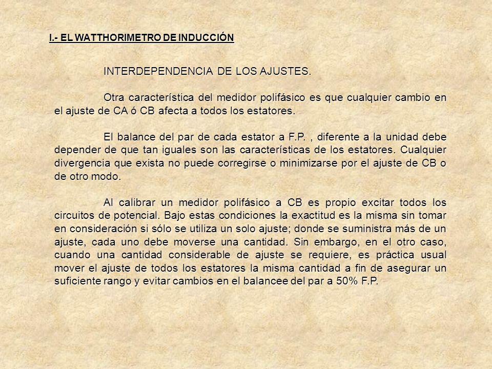 INTERDEPENDENCIA DE LOS AJUSTES.