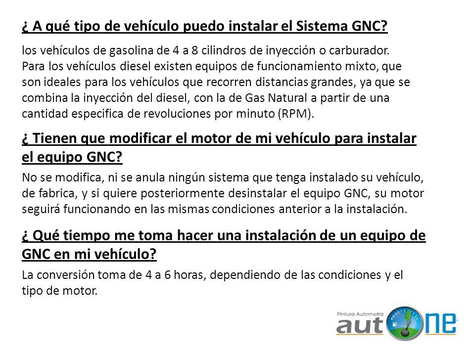 ¿ A qué tipo de vehículo puedo instalar el Sistema GNC
