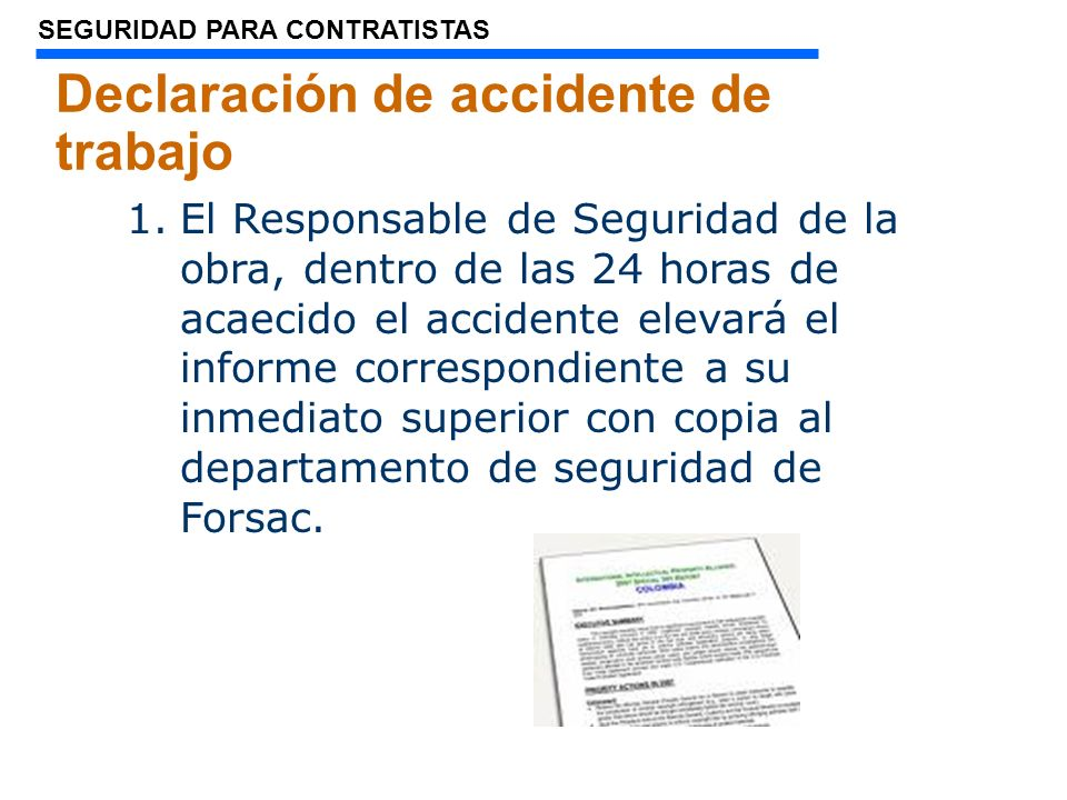 Declaración de accidente de trabajo